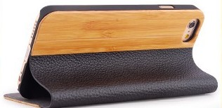 Bamboo and Leather iPhone case stand