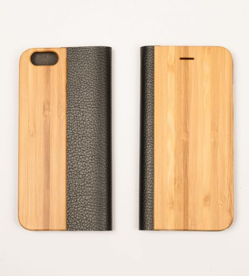 Bamboo Wooden and leather iPhone wallet case front and back cover