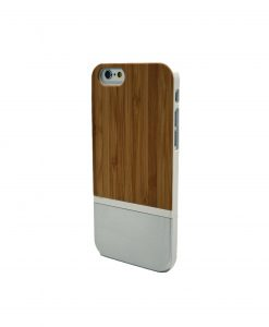 Iphone Bamboo Wooden Case Silver Stripe