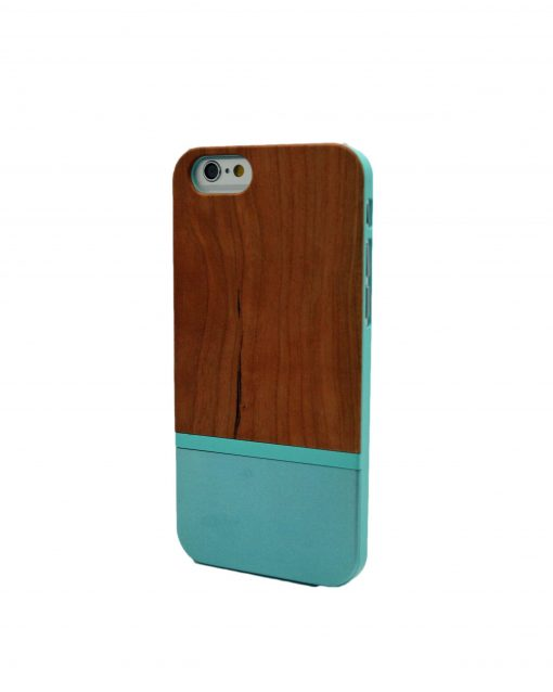Iphone Cherry Wooden Case and Blue Stripe