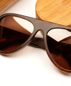 Padauk Wooden sunglasses close up