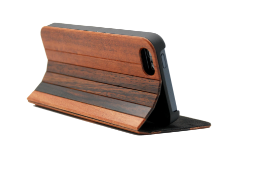iPhone wooden flipover case