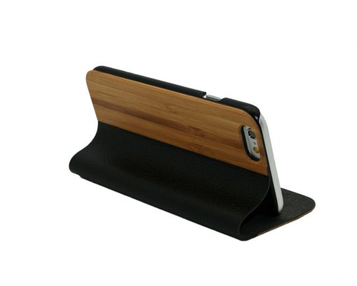 iPhone Bamboo Wooden and Leather Wallet Case Stand Cover