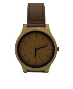 Bamboo wooden watch with brown leather strap