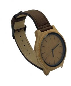 Bamboo wooden watch with brown leather strap side