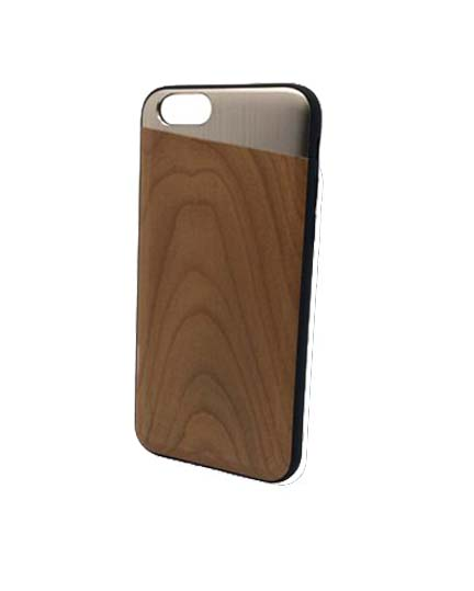 Cherry wooden and champagne metallic iPhone case