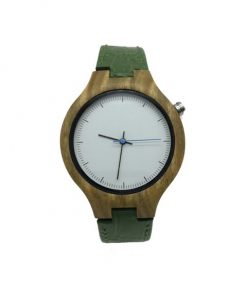 Green Sandalwood wooden watch with green leather strap