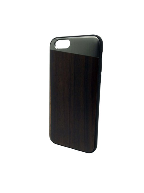 Padauk dark wooden and metallic silver iPhone case